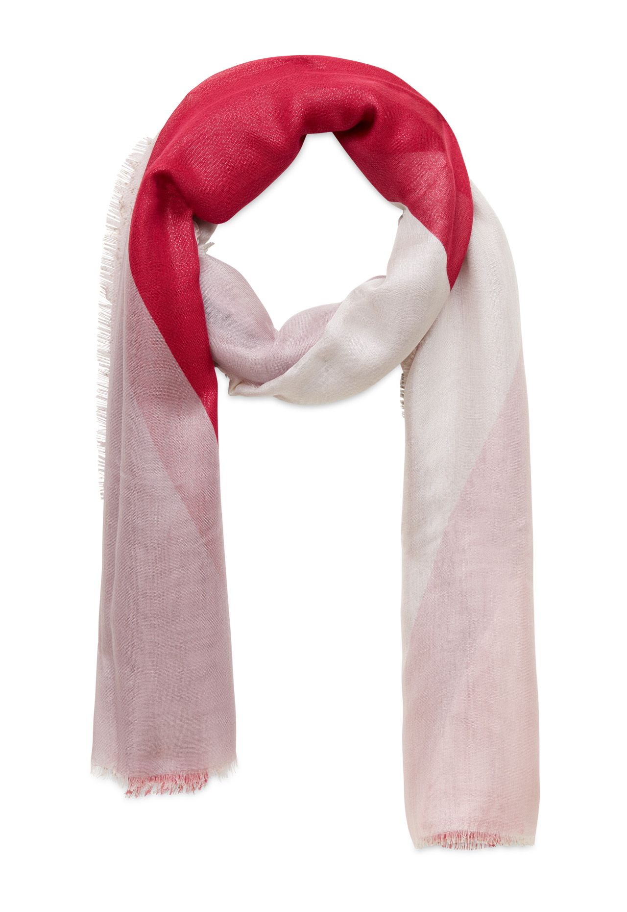 Stefanel Colour Block Scarf, Red