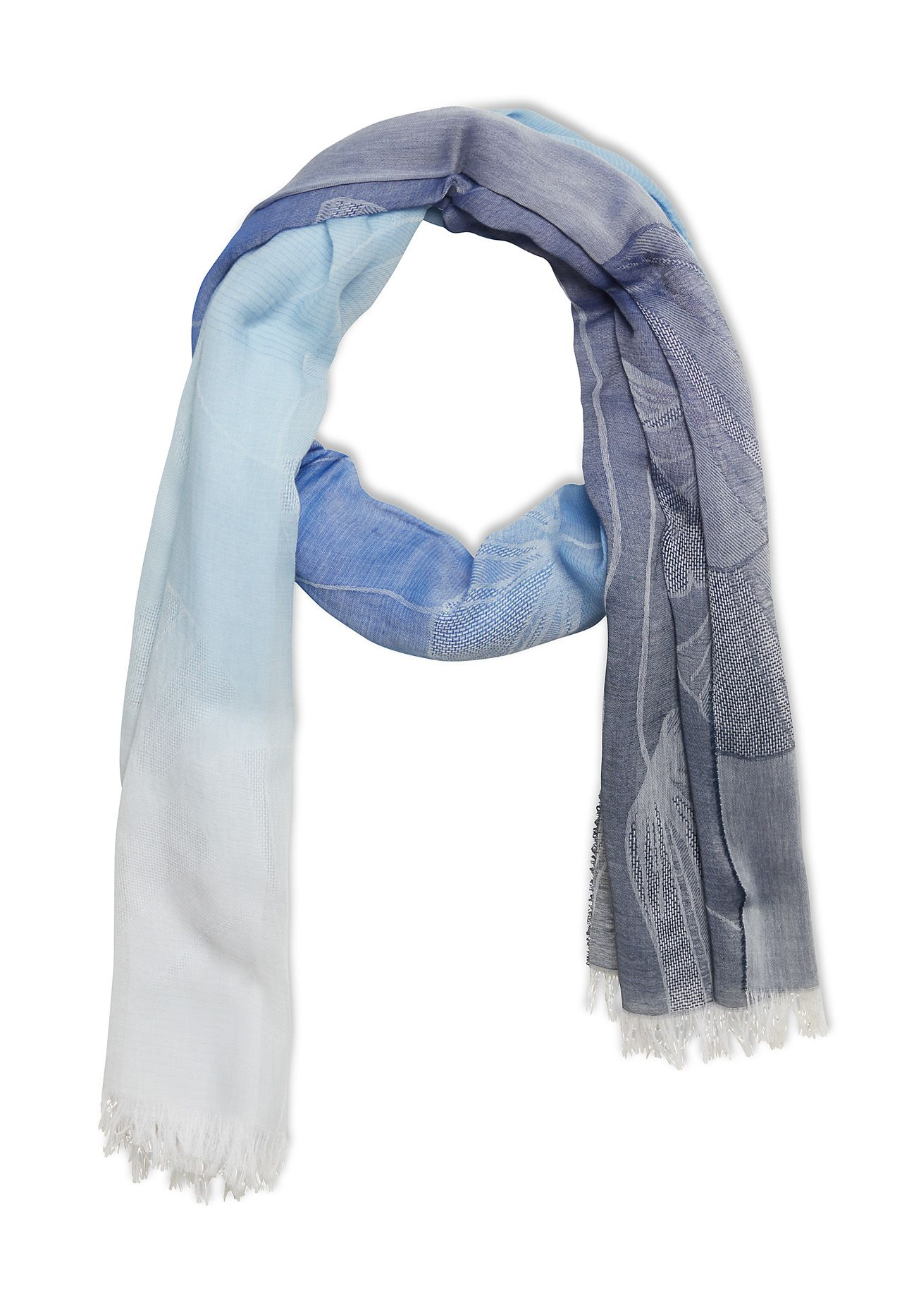 Stefanel Jacquard Scarf With Ginkgo Fabric, Blue
