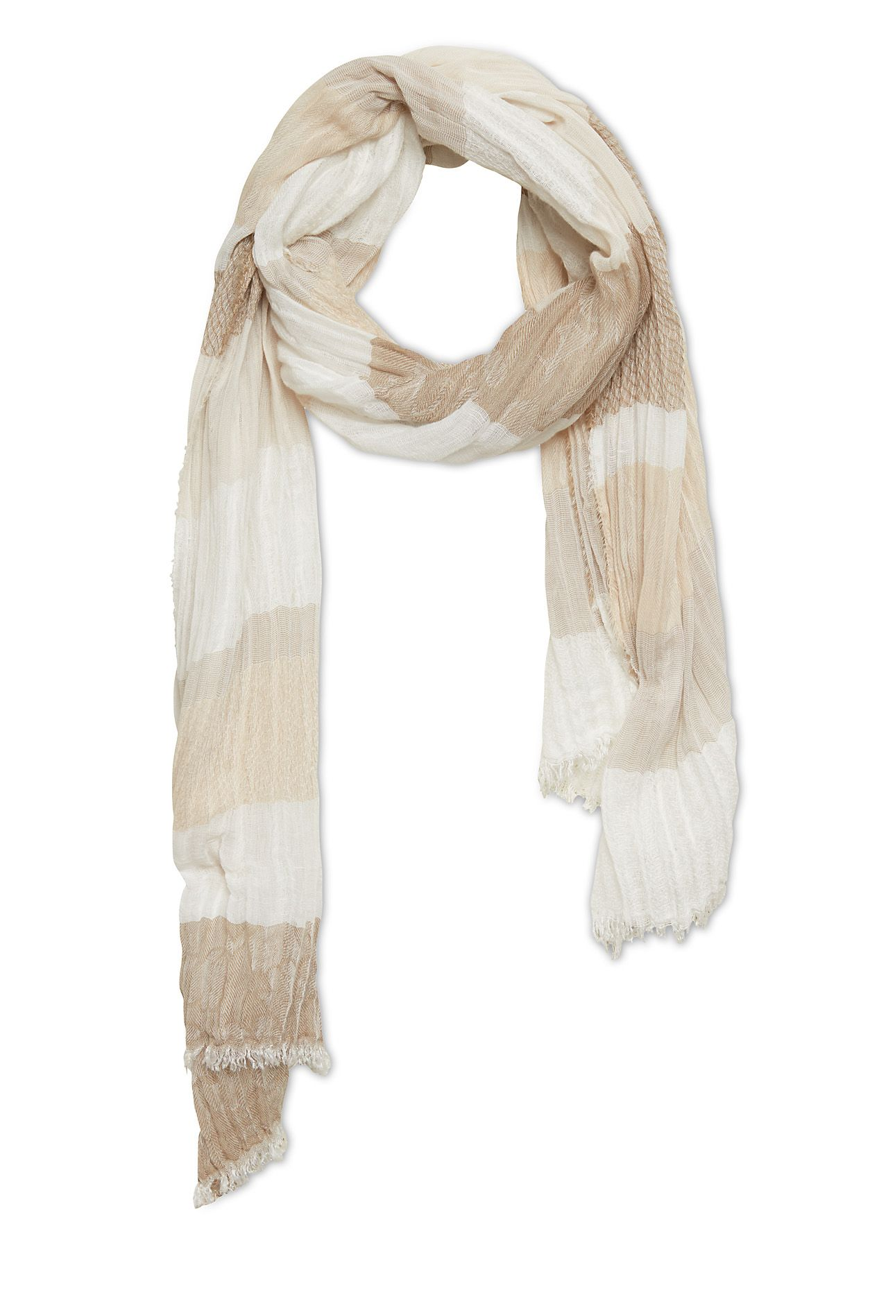 Stefanel Stripe Mix Scarf, Grey