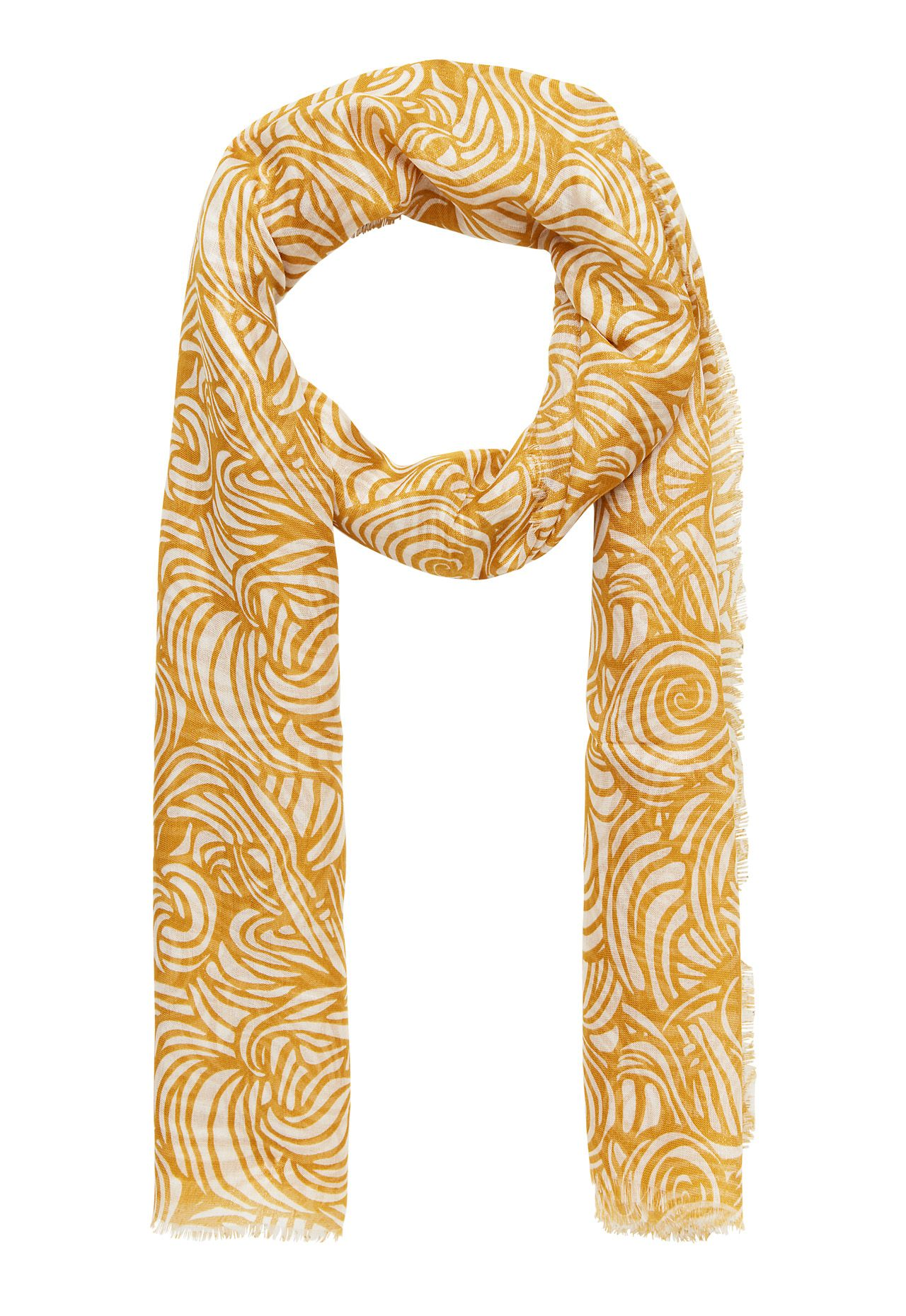Stefanel Scarf With Patterned Print, Yellow