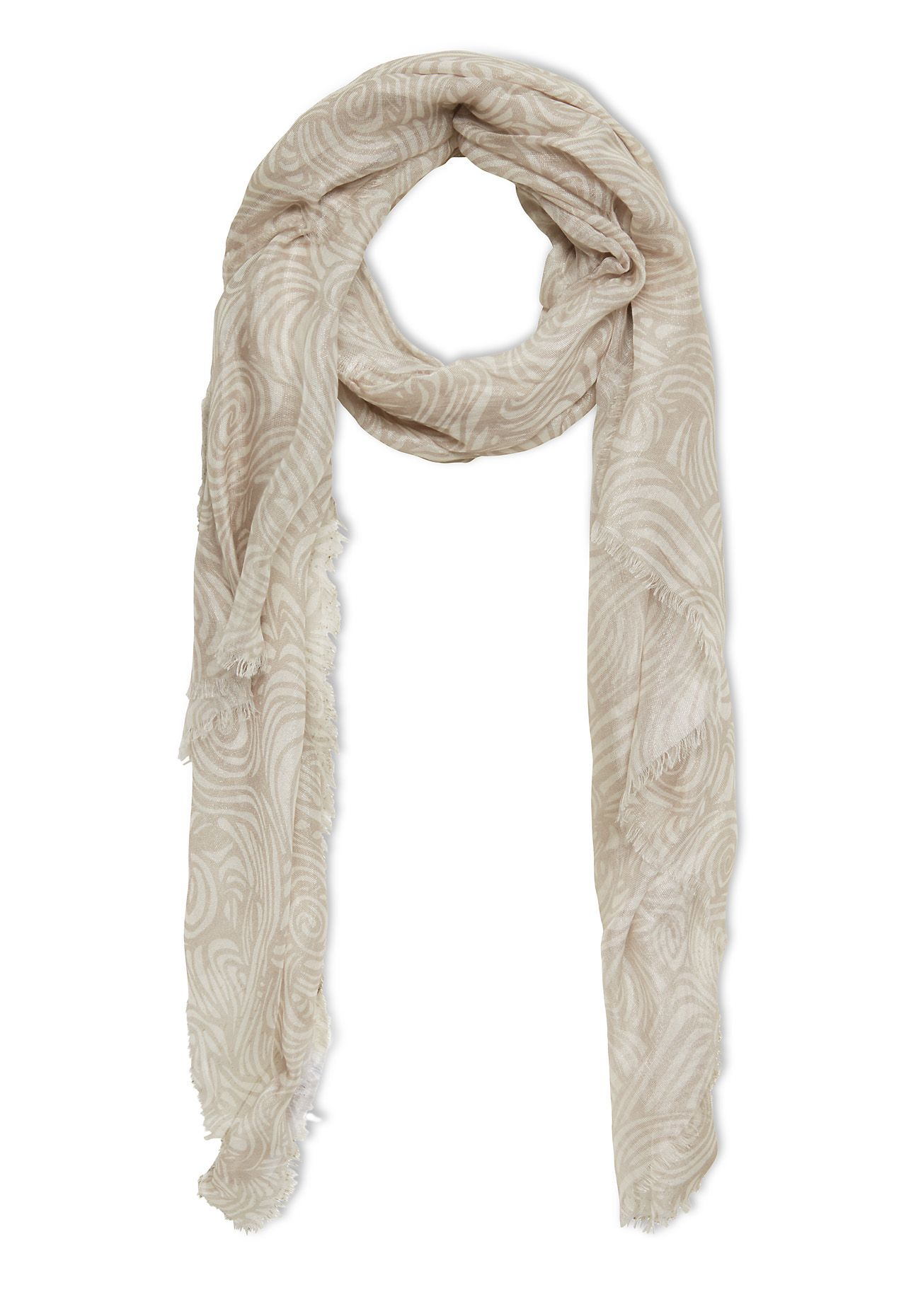 Stefanel Scarf With Patterned Print, Grey