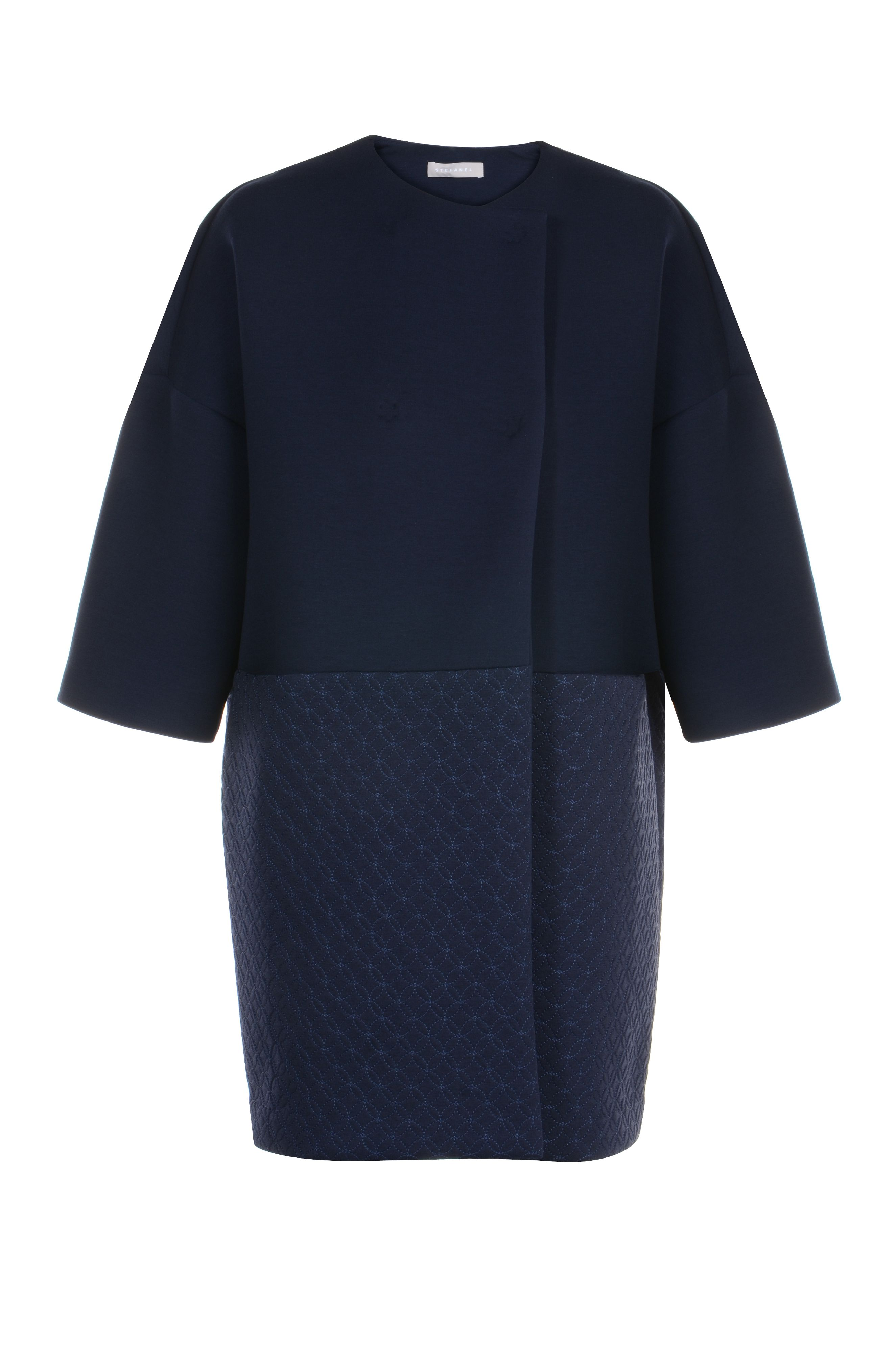 Stefanel Embroidered Jersey Dustcoat, Blue