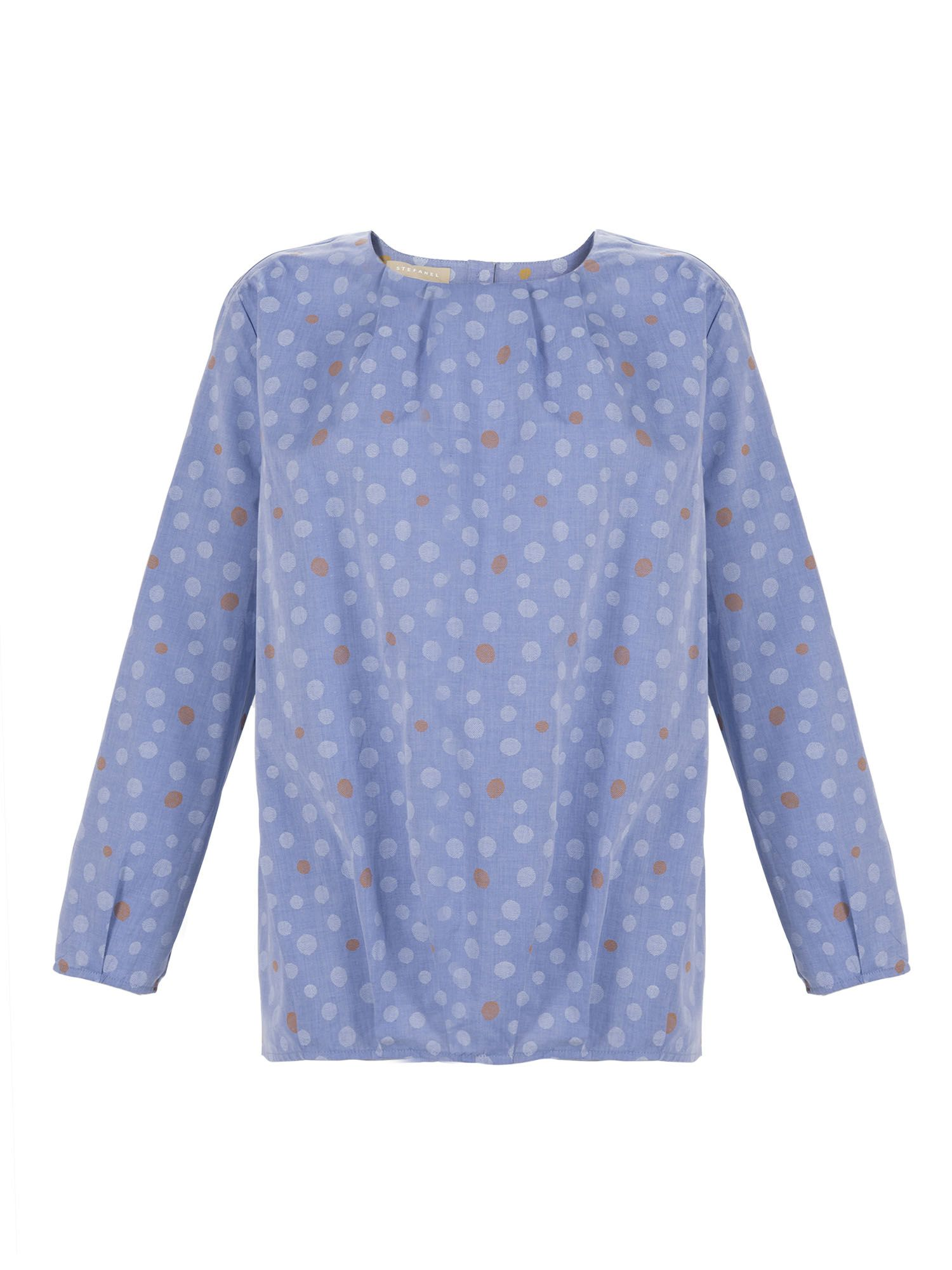 Stefanel Polka Dot Blouse, Light Blue