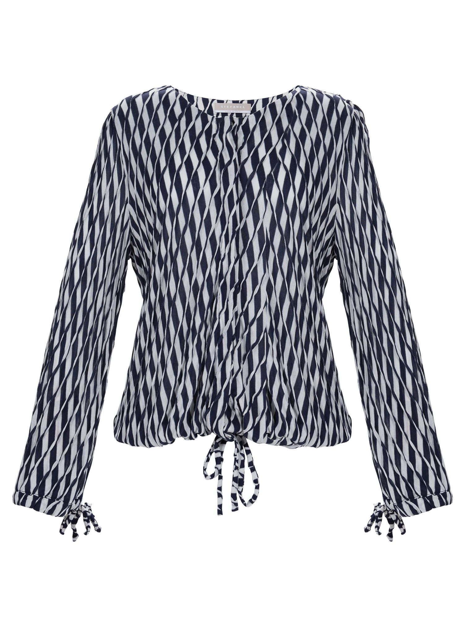 Stefanel Striped Jersey Shirt, Blue & White