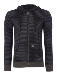 Diesel S-Milza Zip Up Patterned Hoodie