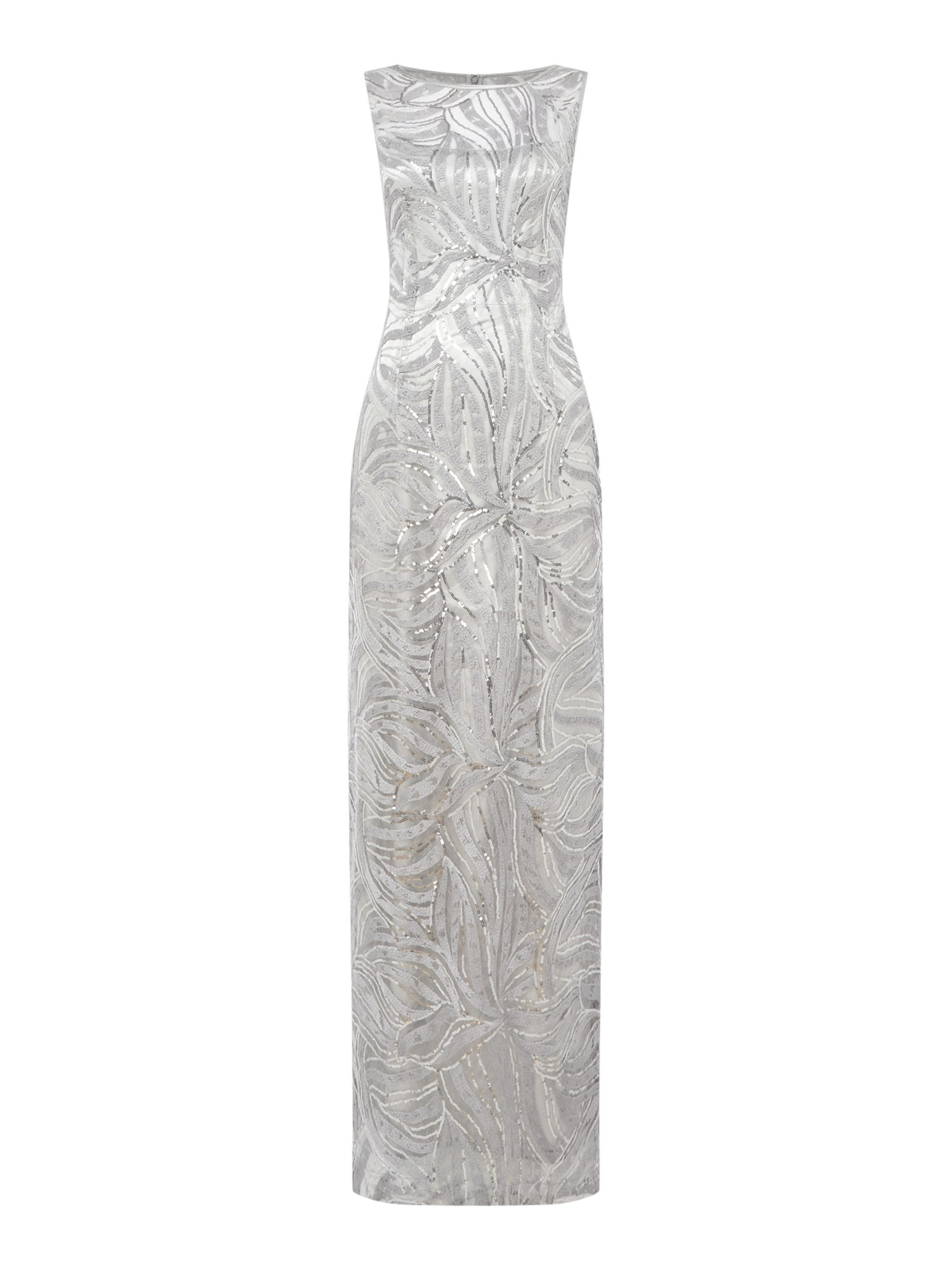 Tahari ASL Sequined Silver Gown, Silver Silverlic