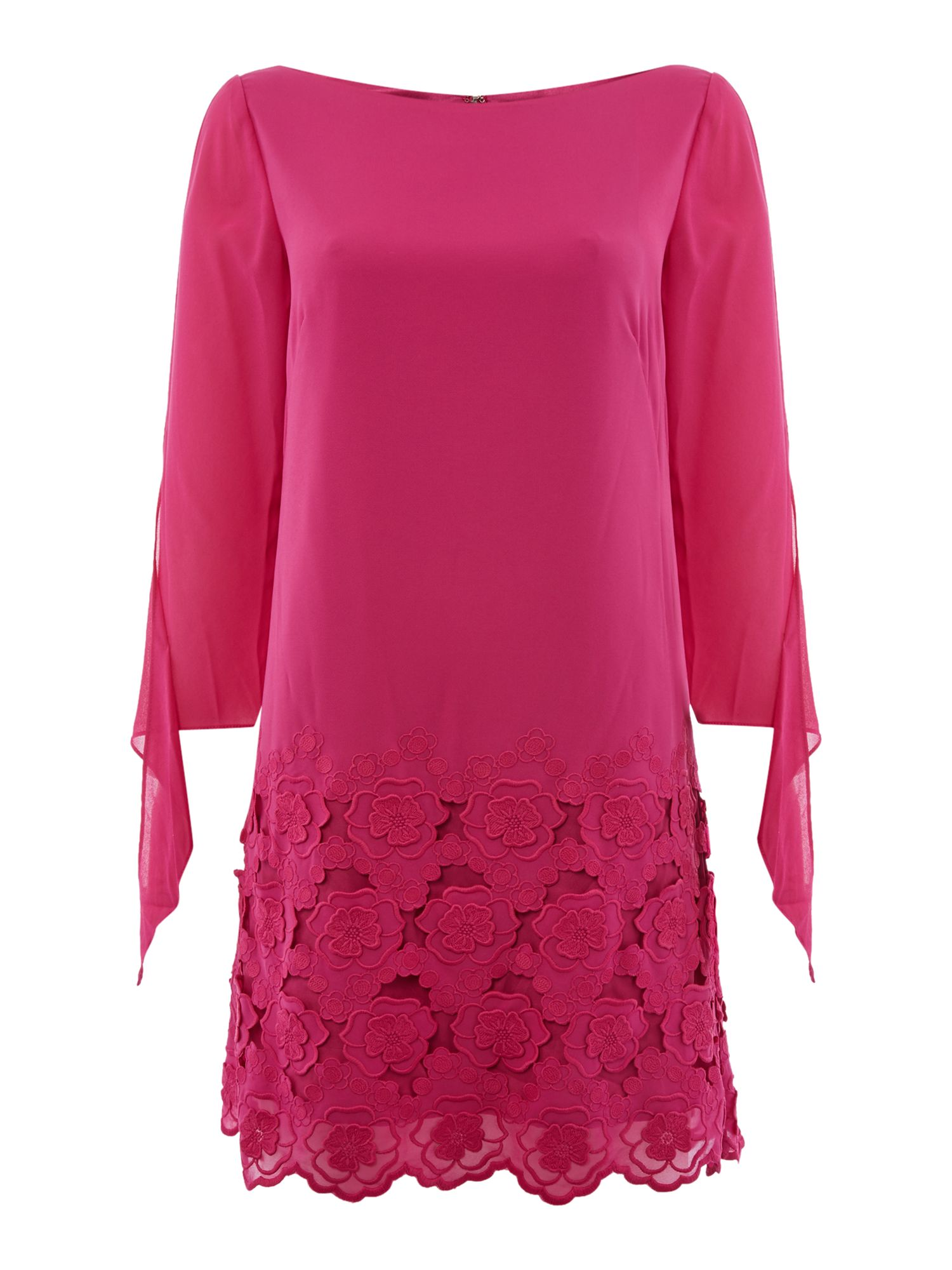 Tahari ASL Tied Sleeve Embroidered Chiffon Dress, Hot Pink