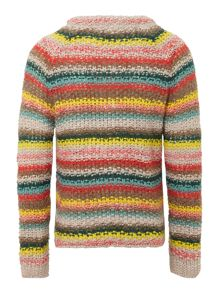 Girls chunky knit multi stripe cardigan