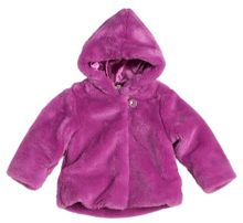 Girl`s hooded jacket with faux fur