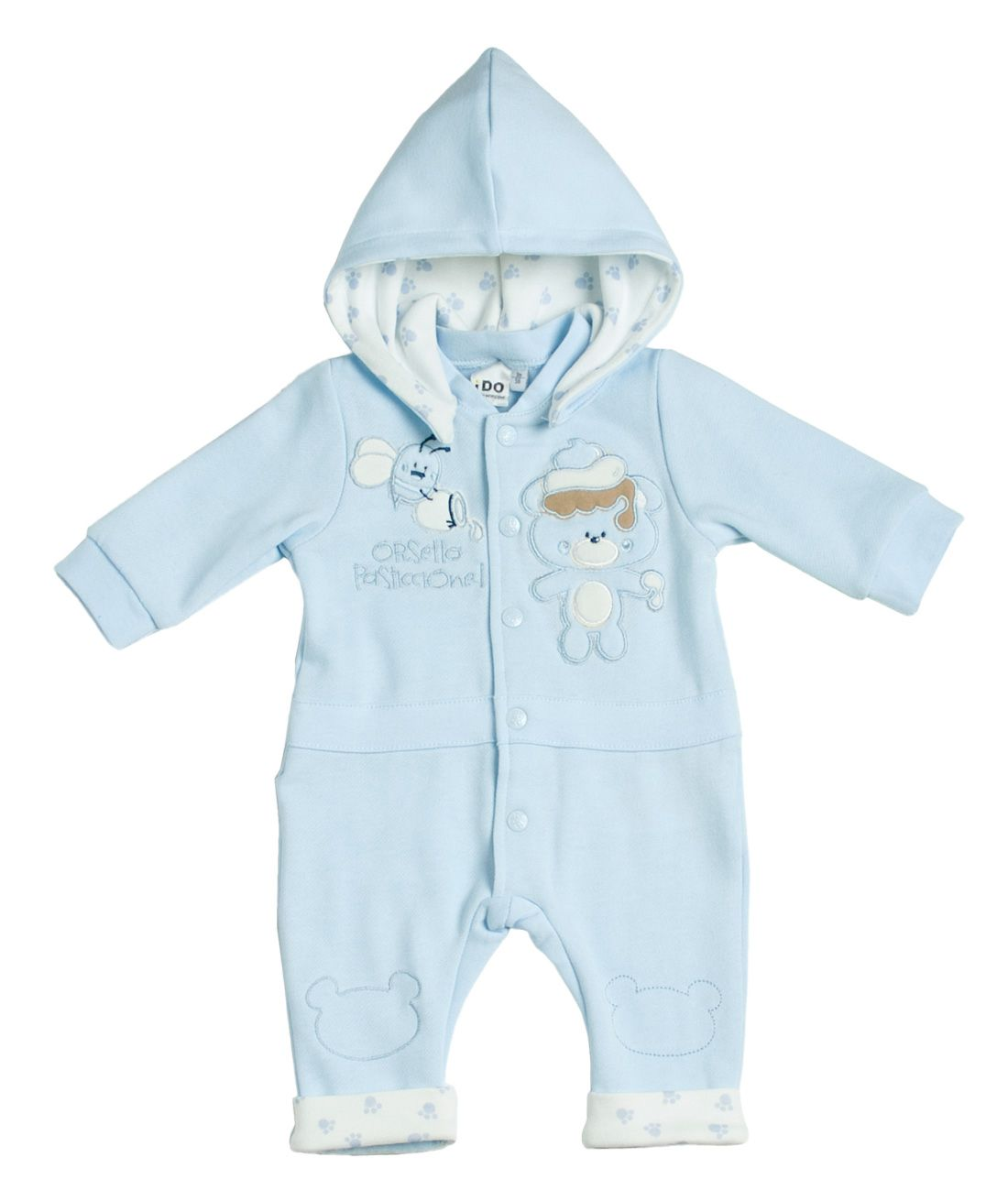 Boy`s hooded jersey romper