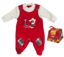 Boy`s Xmas gift packed chenille romper