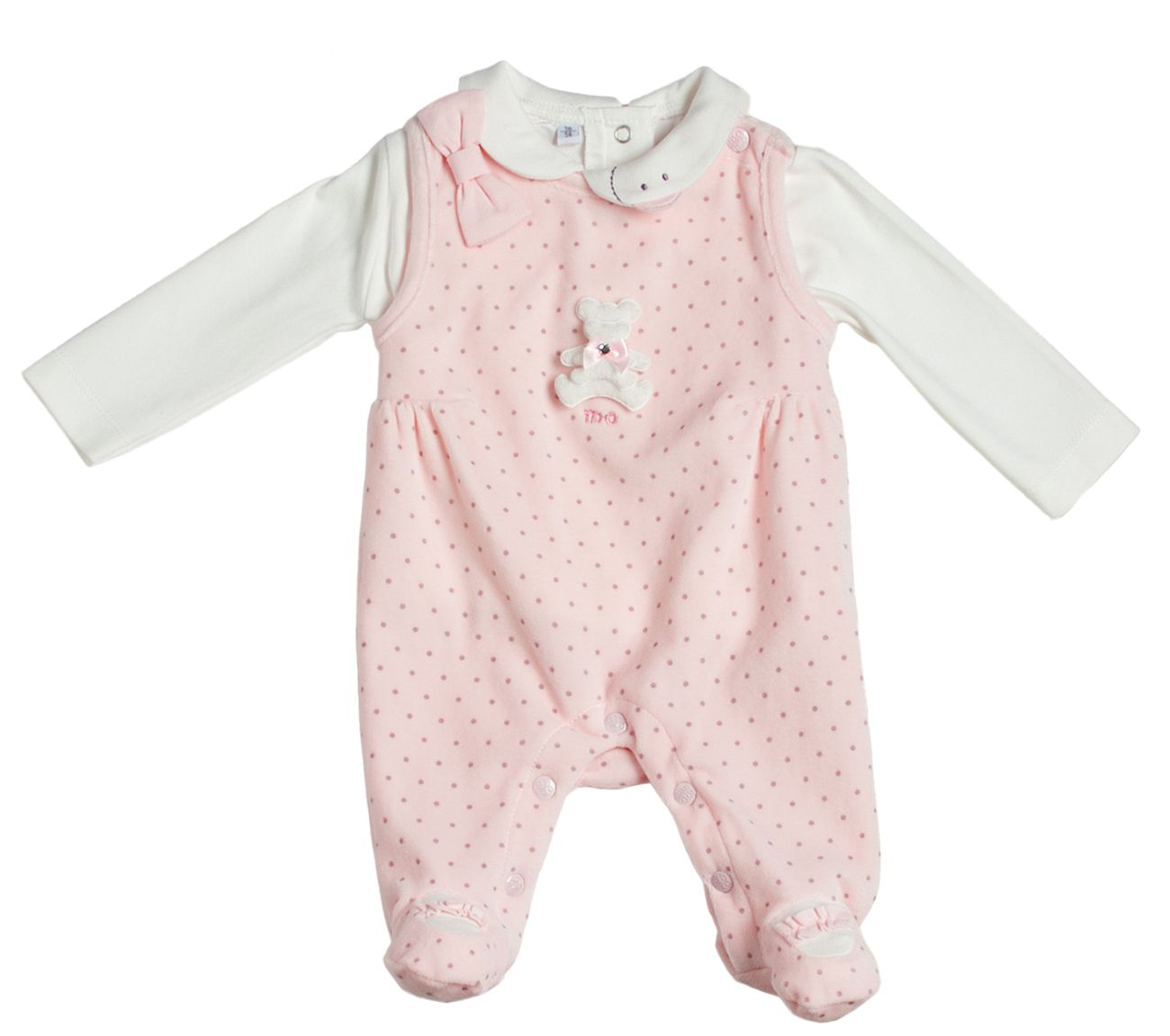 Girl`s polka dots two piece chenille rompers