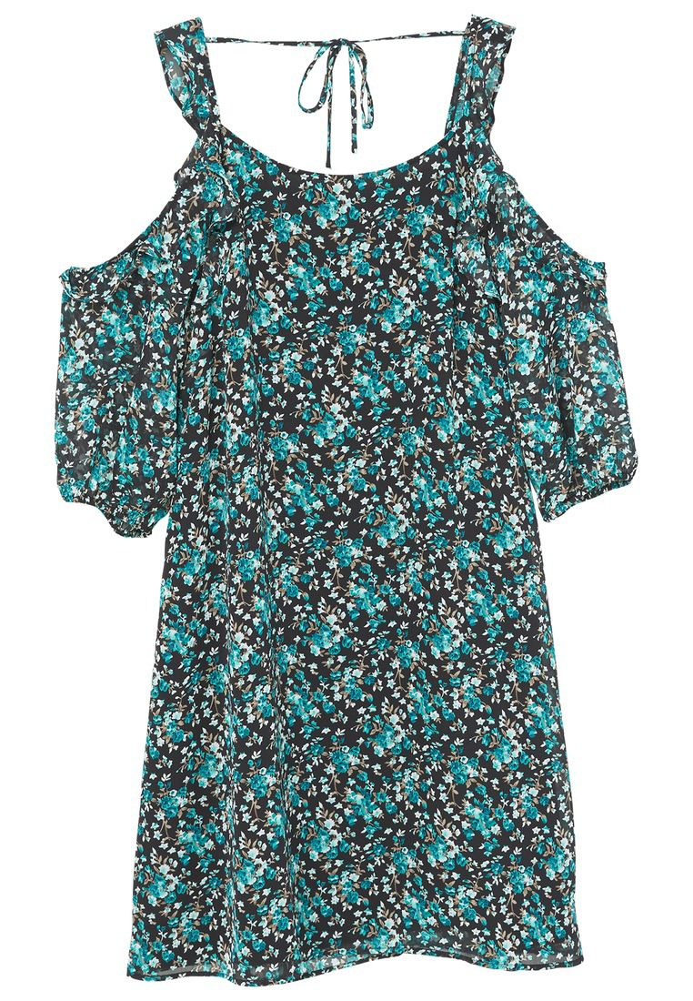 Mango Flowers cold shoulder dress, Green