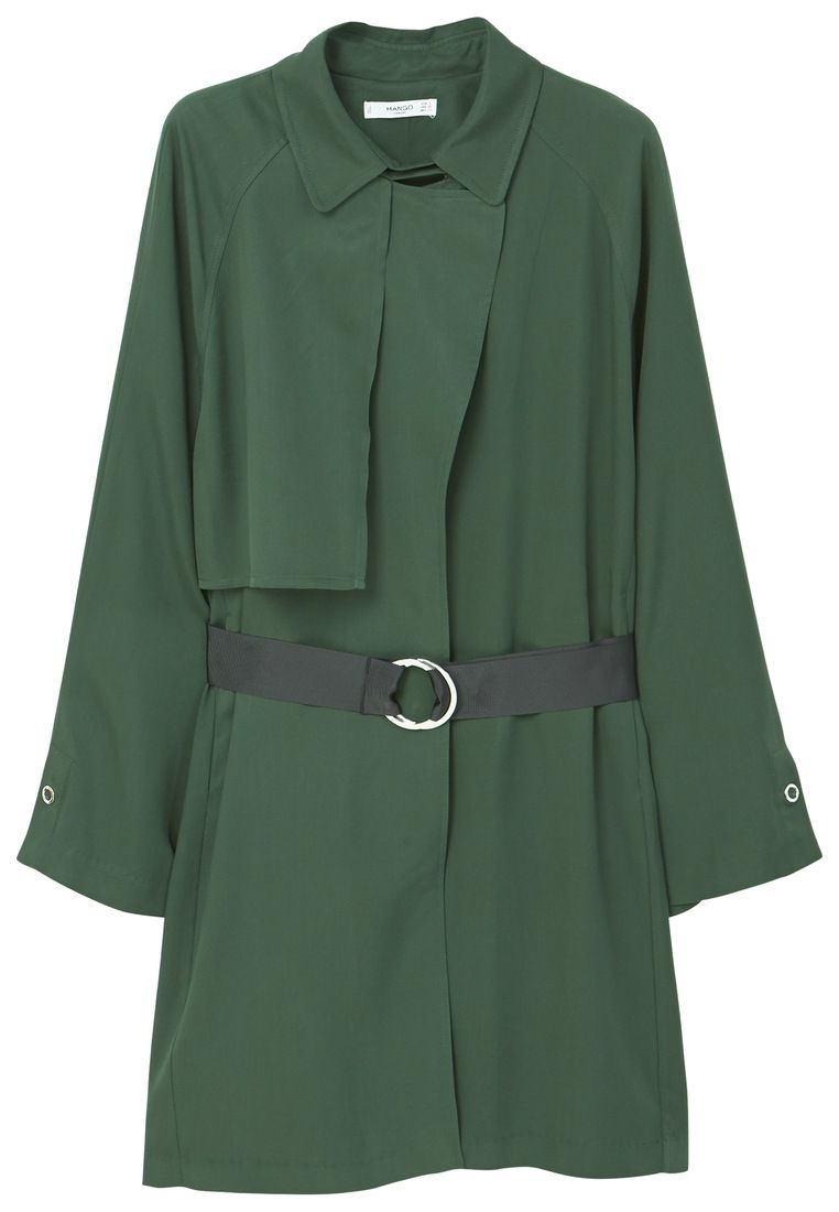 Mango Belt flowy trench, Green