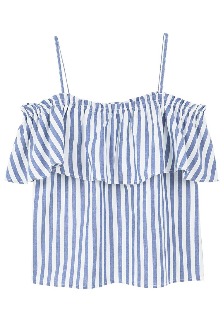 Mango Ruffle Striped Top, Blue