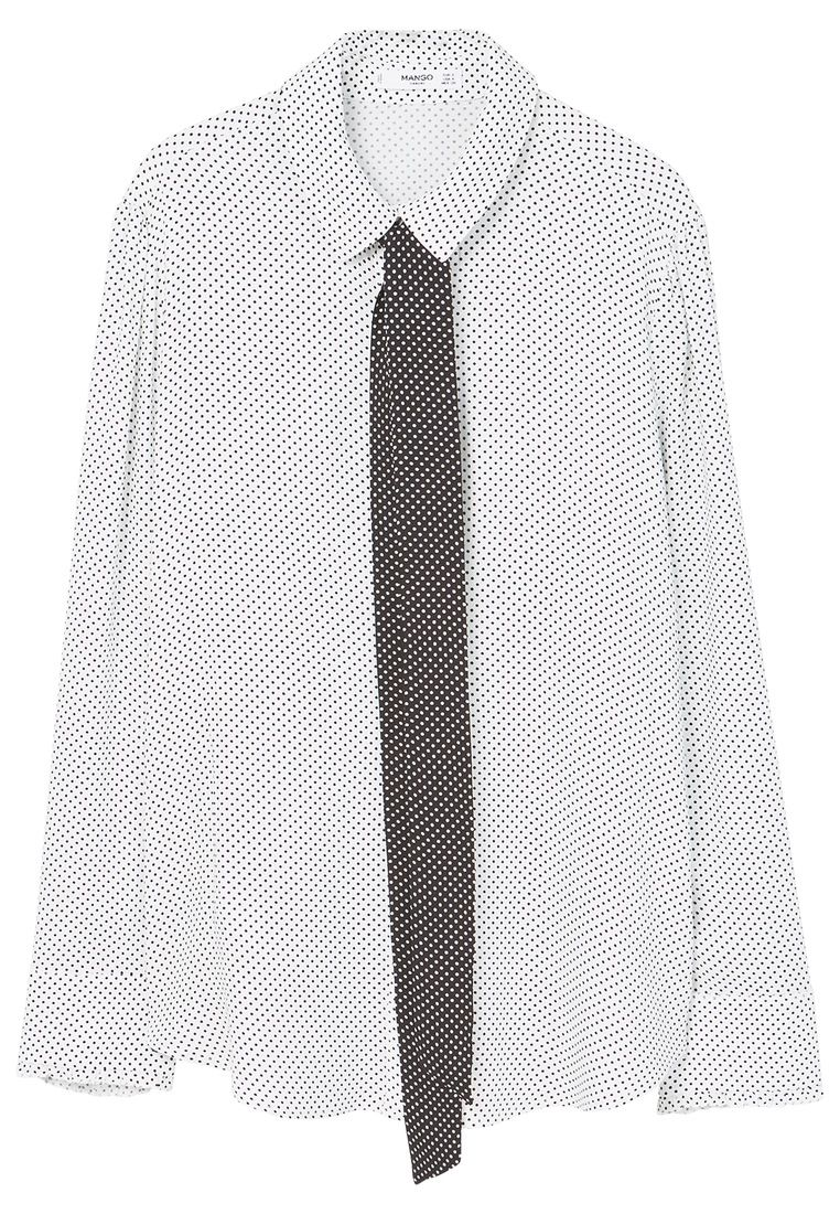 Mango Bow Printed Shirt, White