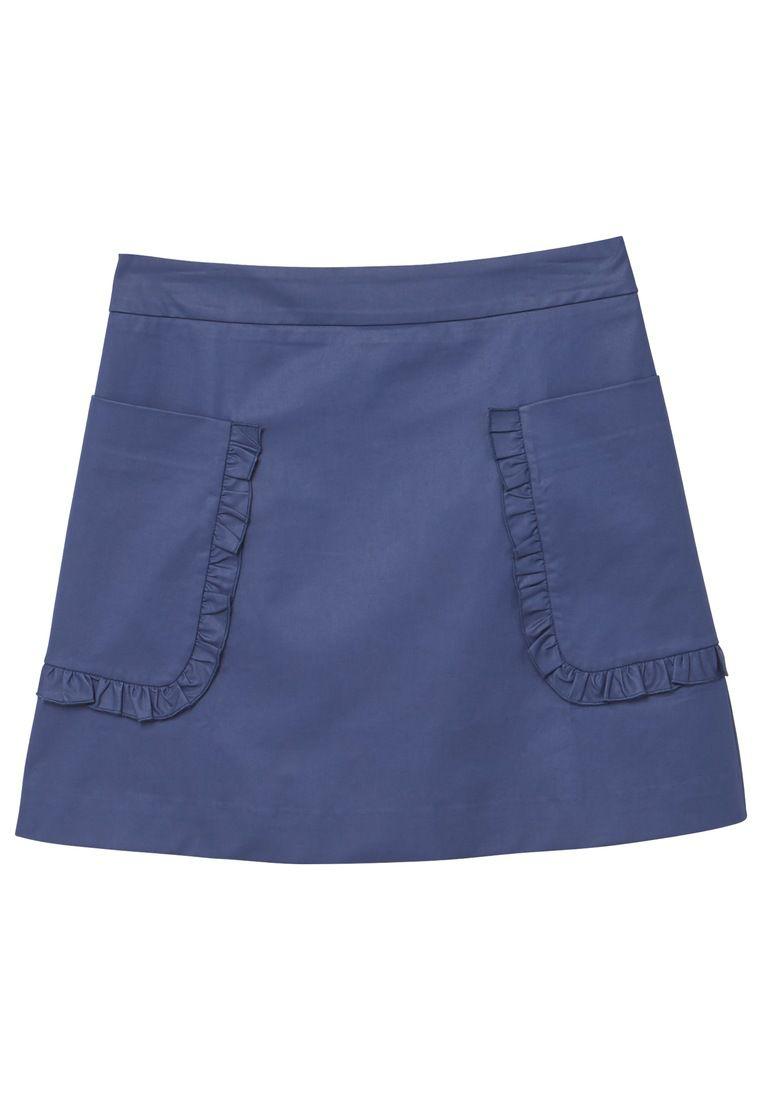 Mango Pocket Cotton-Blend Skirt, Blue