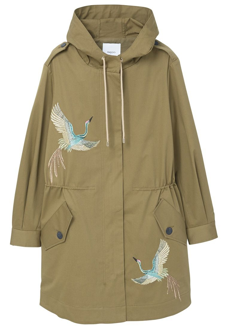 Mango Embroidered Cotton Parka, Green