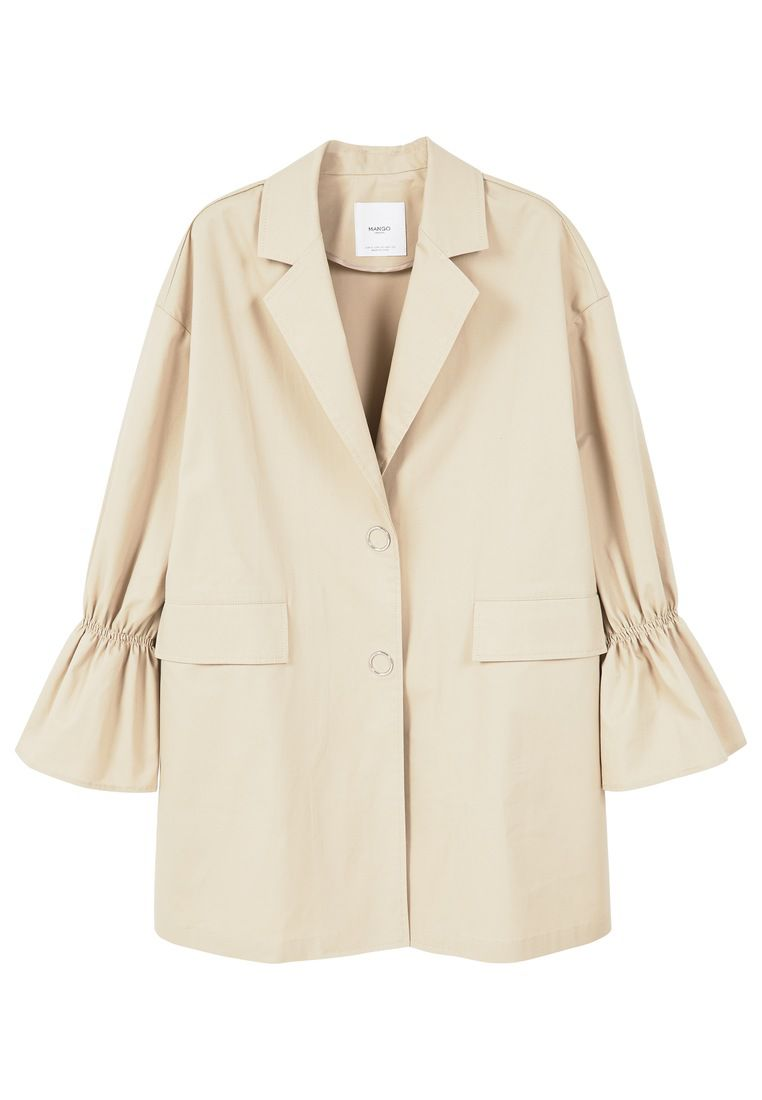 Mango Flared sleeve trench, White