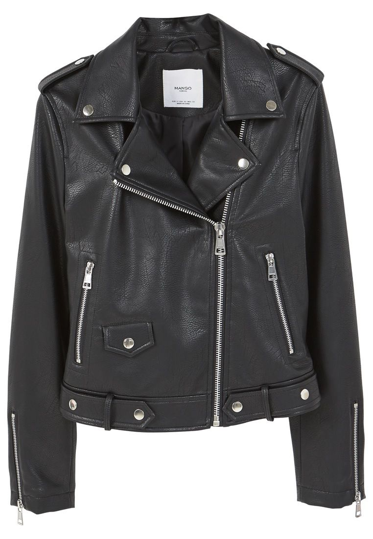 Mango Appliquà biker jacket, Black