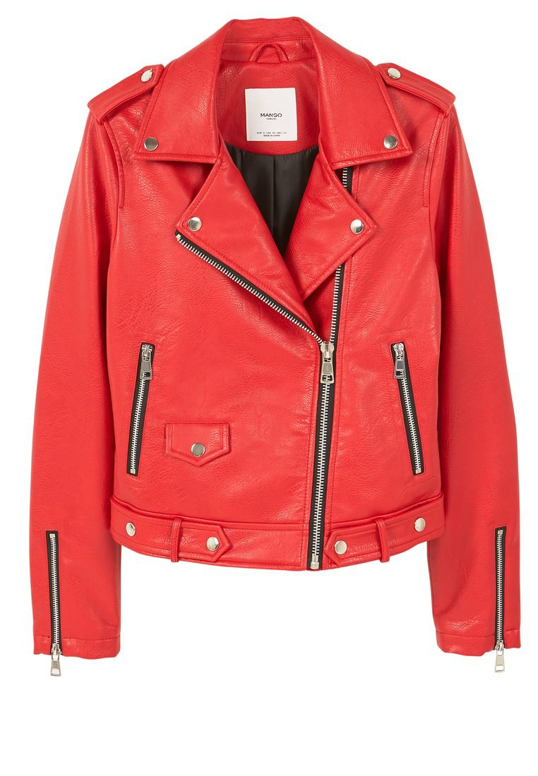 Mango Appliquà biker jacket, Red