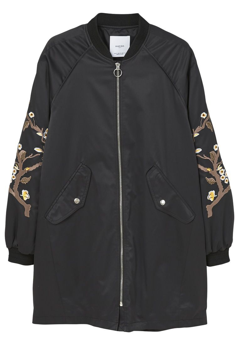 Mango Embroidered Parka, Black