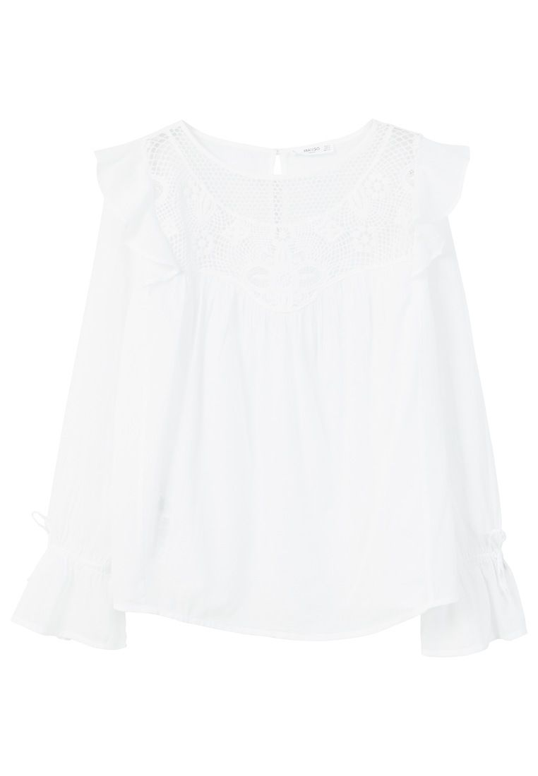 Mango Blonda panel blouse, White