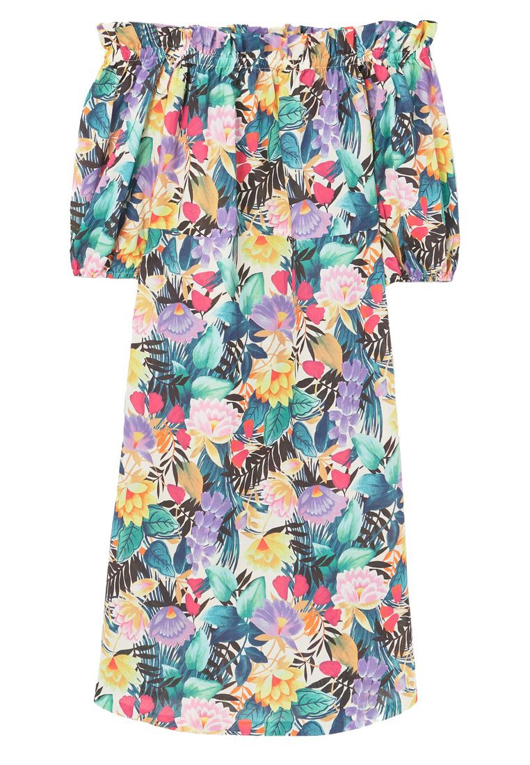 Mango Printed off-shoulder dress, Green