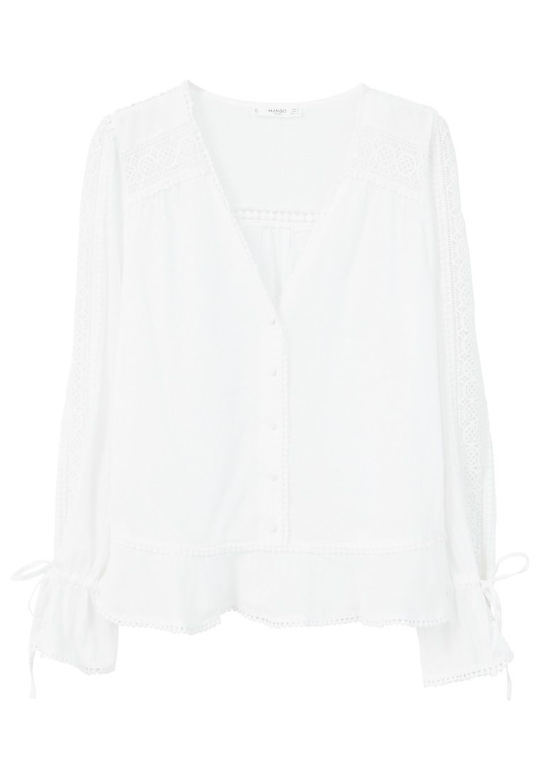 Mango Embroidered openwork blouse, White