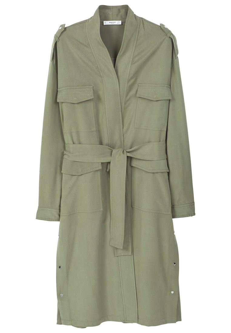 Mango Side snaps trench, Green