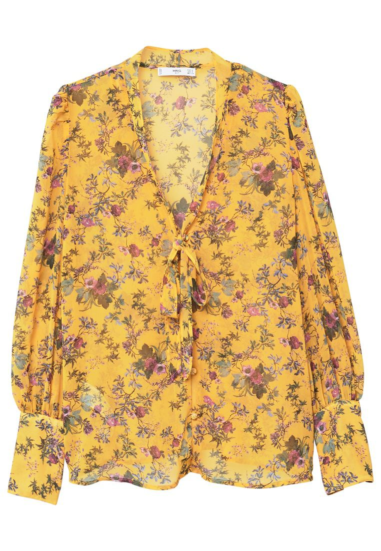 Mango Floral Print Blouse, Yellow