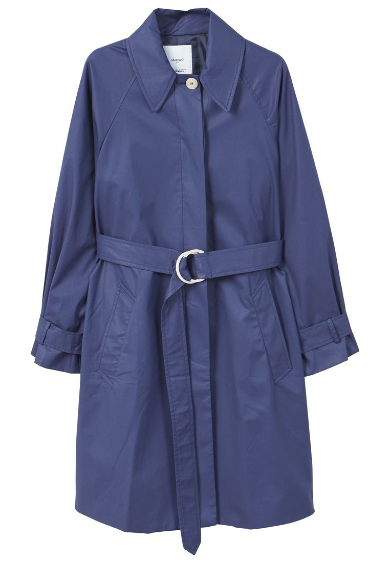 Mango classic cotton trench coat blue octer for Quality classic house of fraser