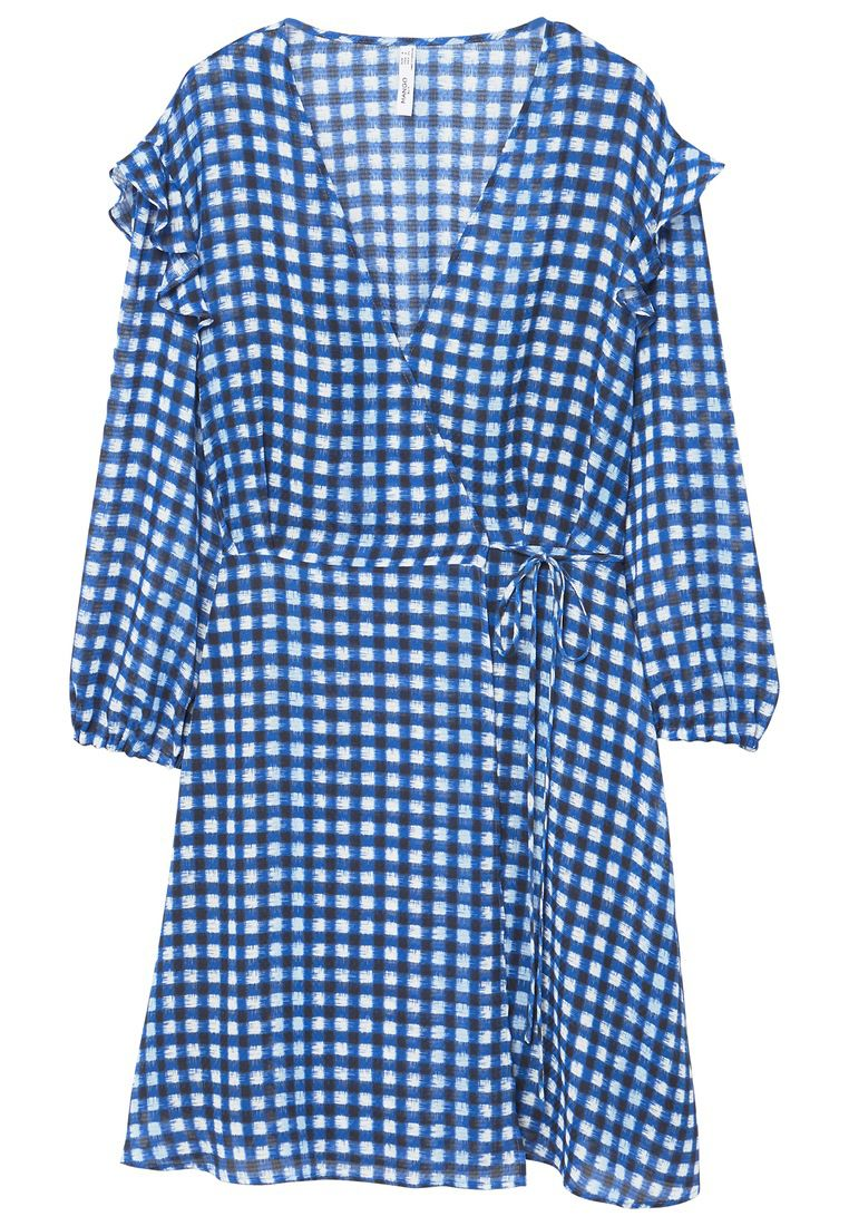 Mango Check wrap dress, Blue