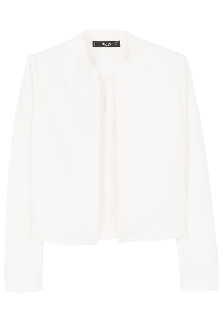 Mango Structured textured blazer, White