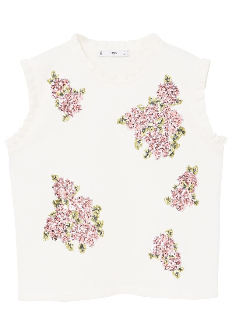Mango Sequin embroidery top, White
