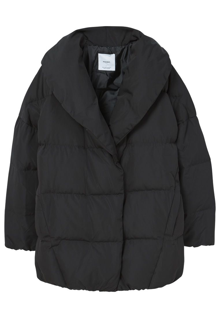 Mango Quilted feather coat, Black