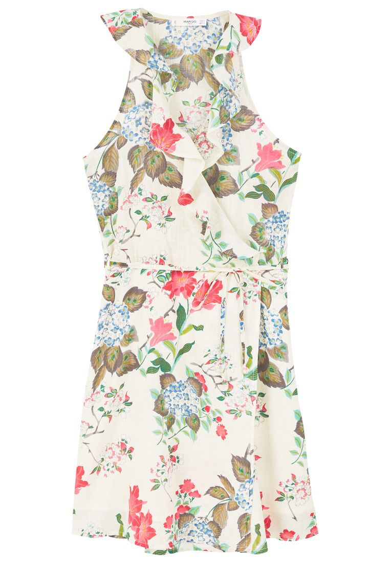 Mango Floral wrap dress, White