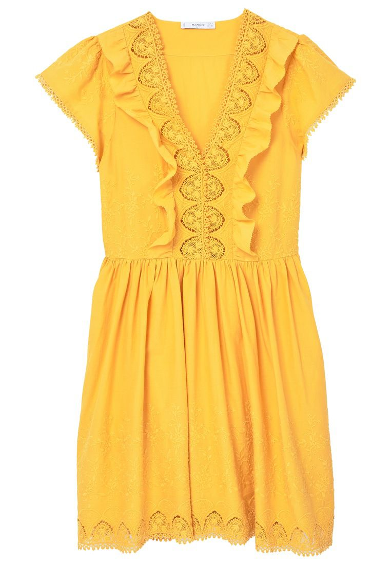Mango Embroidered panel dress, Yellow