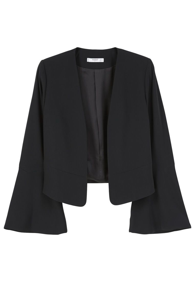 Mango Flared Sleeve Blazer, Black