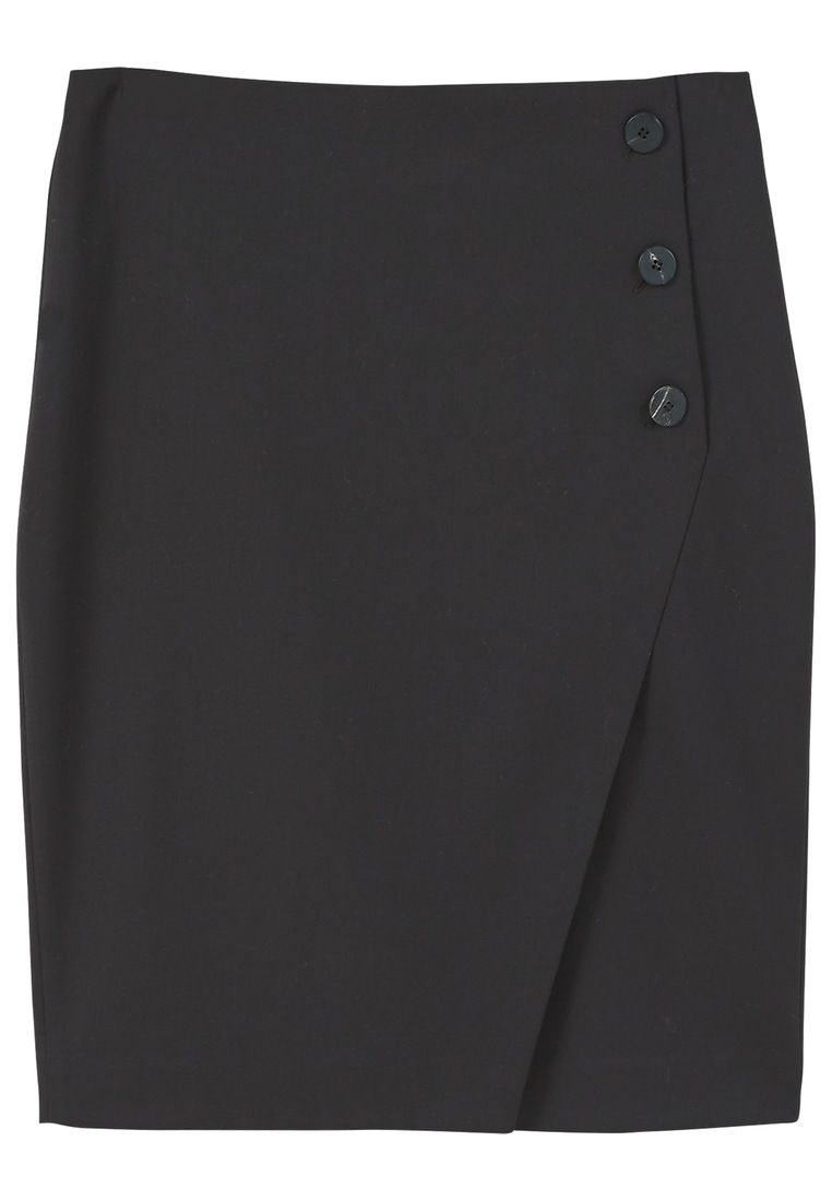 Mango Buttoned Midi Skirt, Black