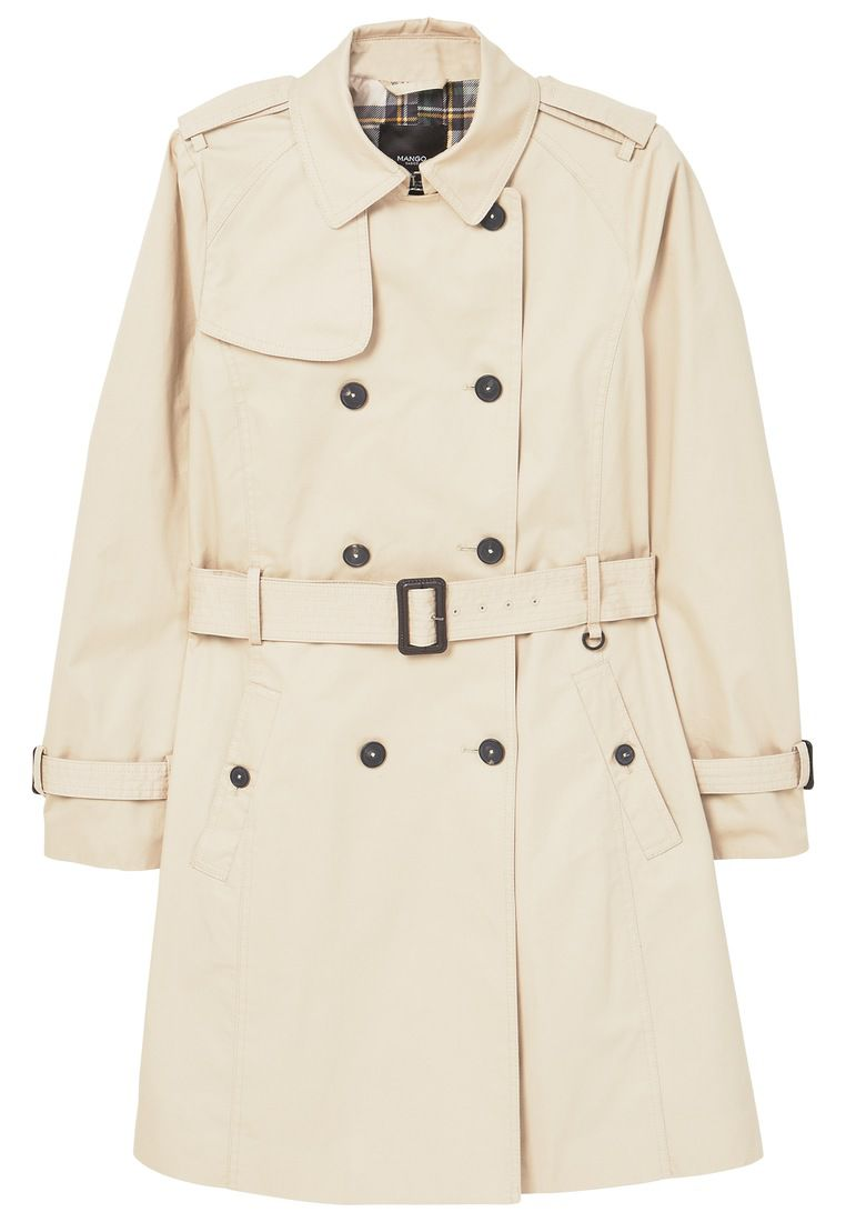 Mango Double Breasted Trench, White