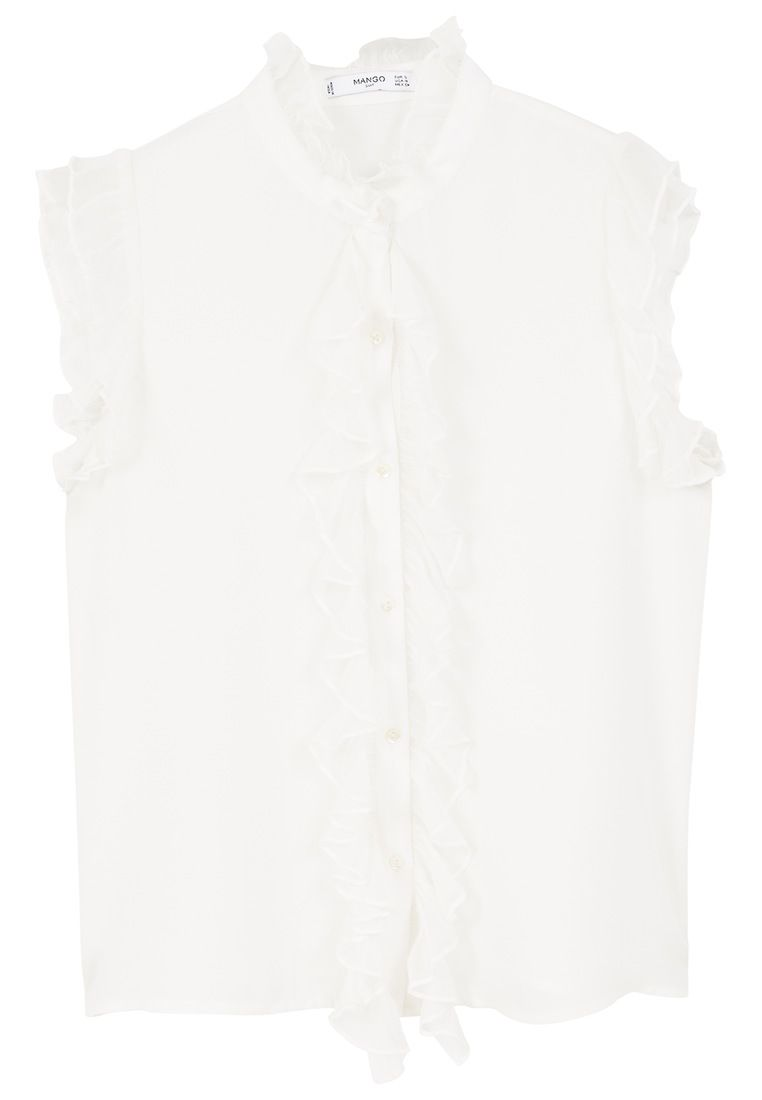 Mango Funnel neck ruffled blouse, White