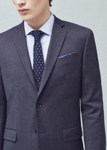 Mango Slim-fit Cotton Suit Blazer