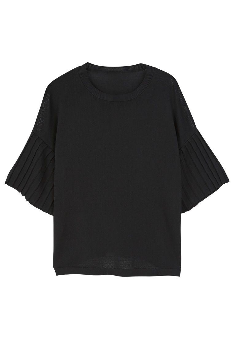 Mango Pleated Sleeves T-Shirt, Black