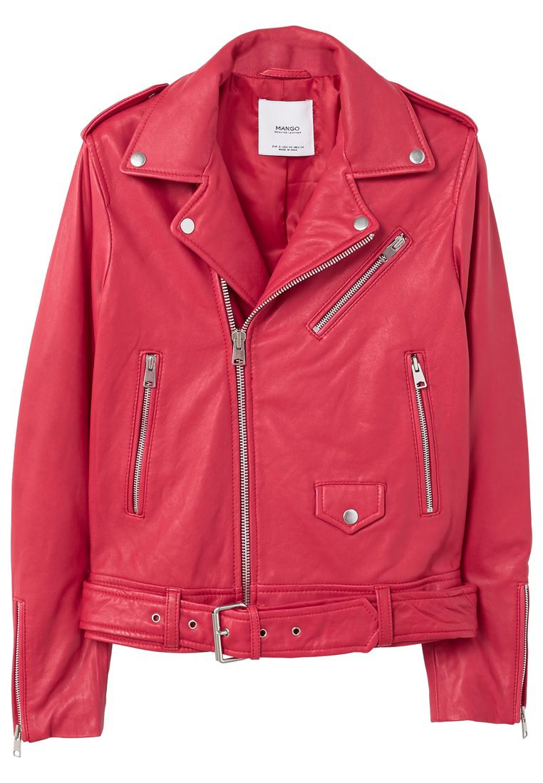 Mango Leather Biker Jacket, Red