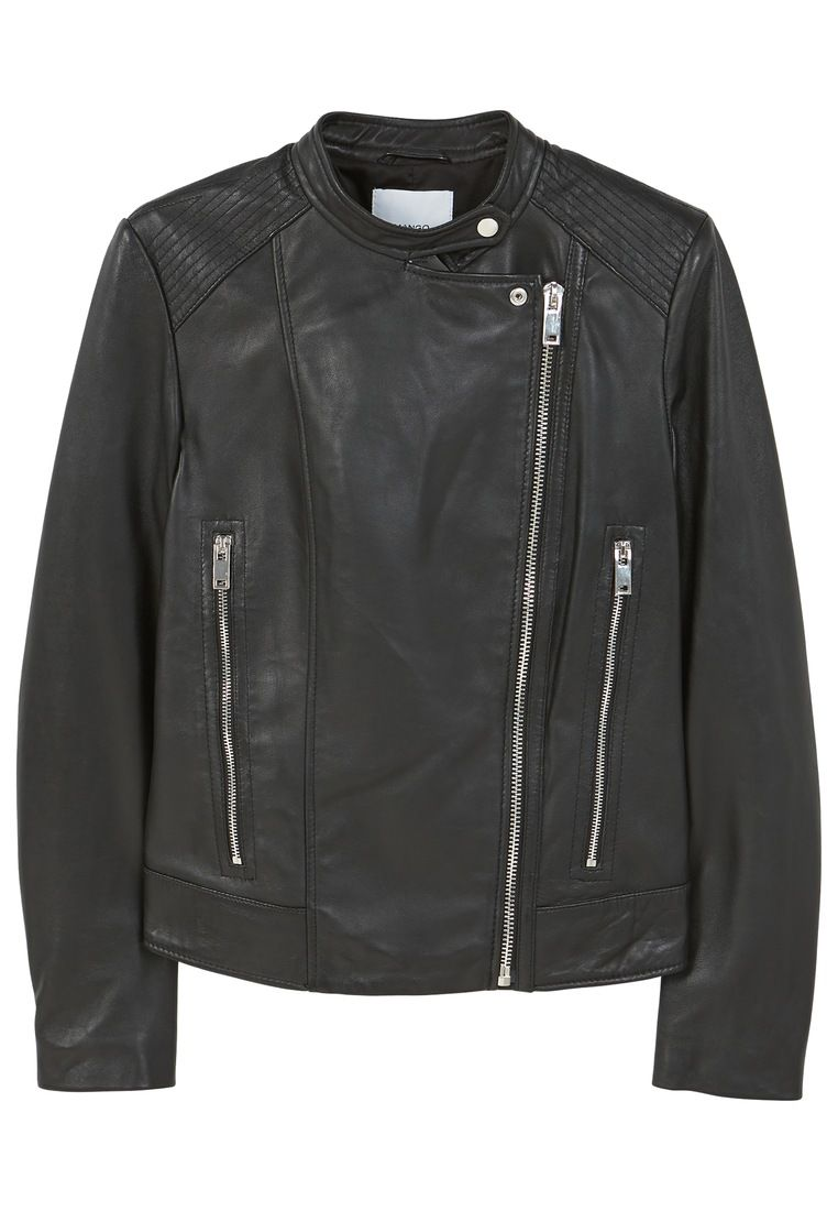 Mango Zip Leather Jacket, Black