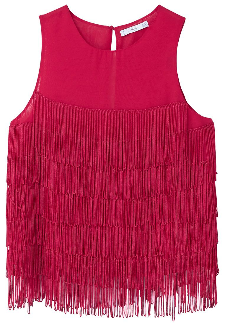 Mango Fringed detail blouse, Pink