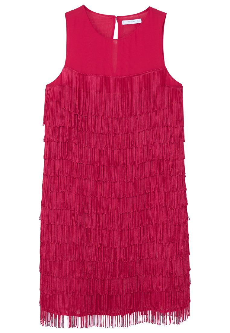Mango Flowy fringed dress, Pink