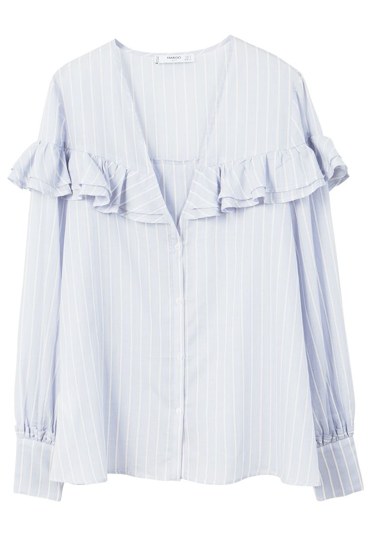 Mango Ruffle Stripe Patterned Blouse, Blue