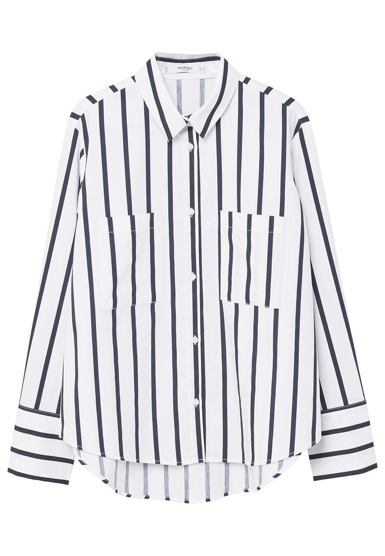 Mango Stripe Patterned Shirt, Blue